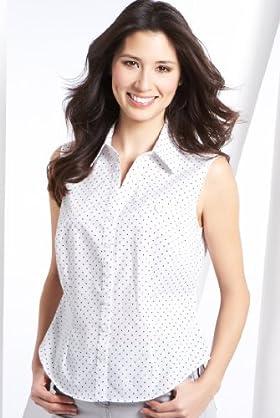Open Neck Sleeveless Spot Print Woven Shirt