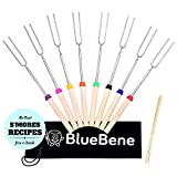 Marshmallow Roasting Sticks by BlueBene - 8 Extending Skewers for Hot Dog and Marshmallows - 32 inch Safe Forks Best for Camping with Bonus 10 Bamboo Sticks, Canvas Pouch & S'mores Recipes Ebook
