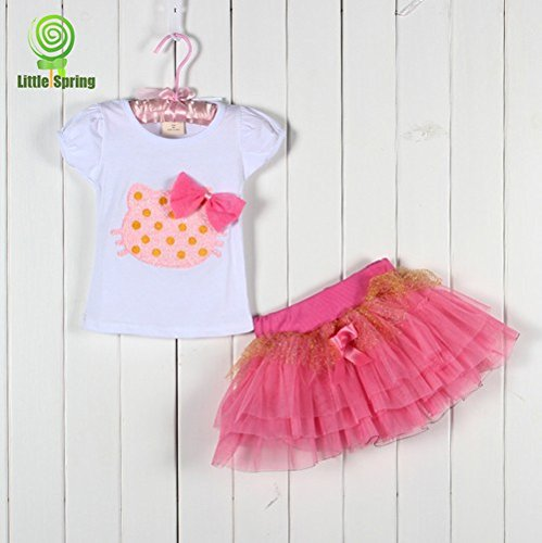 Girls Clothing Sets Hello Kitty T-Shirt + Tutu Skirt Kids Clothing (4T, Pink)
