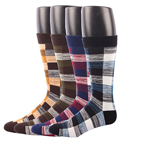 RioRiva Men Formal Dress Trouser Socks Mid Calf British plaid pattern Box Pattern (US Men Size 8-14/EU 42-49, BSK02Y-Pack of 4)