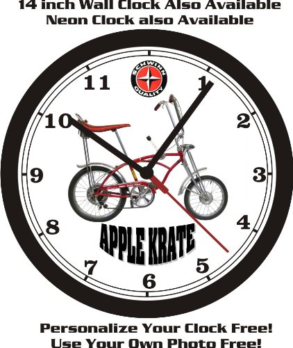 SCHWINN APPLE KRATE STINGRAY BICYCLE WALL CLOCK-FREE USA SHIP!