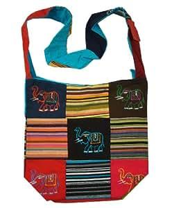 ~ Cotton Canvas Elephant Patch Bohemian/Hippie Sling Cross Body Bag India ~
