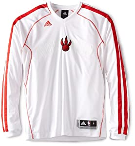NBA Toronto Rapters On-Court Long Sleeve Shooter, Medium,White by adidas