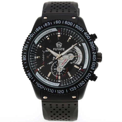 AMPM24 Automatic Auto Mechanical 6 Hands Black Rubber Wrist Watch Gift