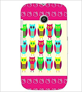 PrintDhaba Owl D-4369 Back Case Cover for MOTOROLA MOTO E (Multi-Coloured)