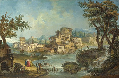 Polyster Canvas ,the Imitations Art DecorativeCanvas Prints Of Oil Painting 'Michele Marieschi Buildings And Figures Near A River With Rapids ', 24 X 37 Inch / 61 X 93 Cm Is Best For Garage Gallery Art And Home Artwork And Gifts (Steel Building 40x60 compare prices)