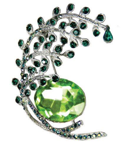Peacock Tail Emerald Crystal Silver Tone Brooch