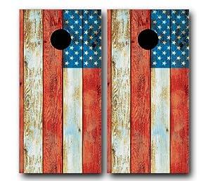 DISTRESSED AMERICAN USA FLAG CORNHOLE WRAP SET High Quality Vinyl Board DECAL Baggo...