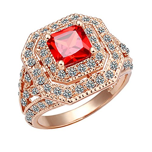 Tangda Women Jewelry Alloy Base 18K Rose Gold Plated Zircon Ruby Wedding Rings Size Q