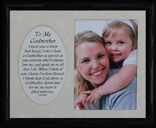 8X10 To My Godmother Photo & Poetry Black Frame ~ Holds A Portrait 5X7 Picture/Photo ~ A Wonderful Gift Idea For A Godmother Baptism!