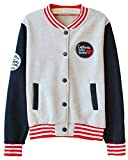 Welity Women's Splice Sleeves Red Baseball Fleece jersey Jacket Grey Blue