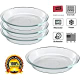 Pyrex/Paksh Glass Bakeware Pie Plate/Dish 9 Inch Round Clear, Microwave, Oven Freezer, Dishwasher Safe [4-Pack]