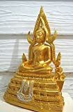 "Phra Buddha Chinnarat Thai Subduing Mara Buddha Image Meditating Statues Figurine Thai Amulets 5"" Original From Thailand B16"