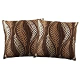 Just Linen Pair Of Chocolate Brown Floral Jacquard Cushion Covers