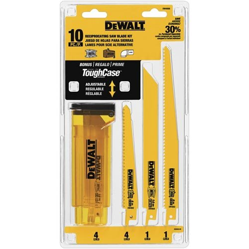DEWALT DW4898 Bi-Metal Reciprocating Saw Blade Set with Case, 10-Piece
