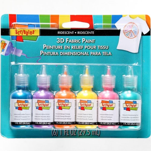 SCRIBBLES 18536 Dimensional Fabric Paint, Iridescent, 6-Pack