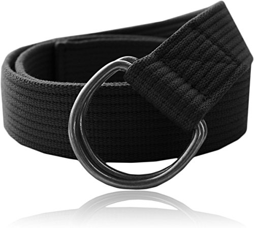 Eurosport Premium Canvas D-Ring Belt - WB2822 - Black M (Web Belt D Ring compare prices)