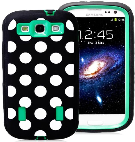 Mylife (Tm) Black And Shamrock Green - Polka Dot Armor Series (Durable Built In Screen Protector + Urban Body Armor Glove) Case For Samsung Galaxy S3 Gt-I9300 And Gt-I9305 Touch Phone (Thick Silicone Outer Gel + Tough Rubberized Internal Shell)
