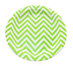 PrettyurParty Chevron Paper Plates (Pack of 10) - Green