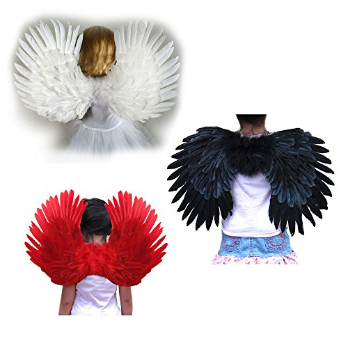 SACAS Small Feather Angel Wings for kids, girls, or boys with Free Halo 3 Colors