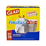 Glad ForceFlex Tall Kitchen Drawstring Trash Bags, 13 Gallon, 76 Count