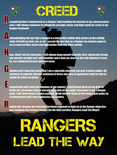Army Rangers Creed Poster 18X24 Us Military Gifts Ranger Creed V2 front-244432