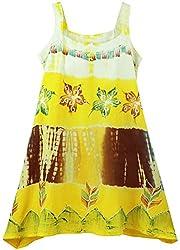 Oye Girls Singlette Shoulder Tail Bottom Dress - Lemon Chrome (3-4 Y)
