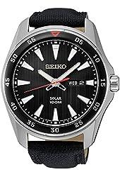 Seiko SNE399 Men's Core Black Leather Strap Band Black Dial Watch