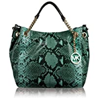 Michael Michael Kors Jet Set Embossed Python Chain Medium Gather Shoulder Tote Aqua