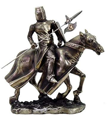 Medieval Knight On Cavalry Horse Charge Statue Pole Spear Axe Special Unit