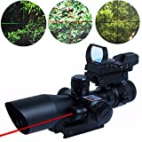 Tactical 2.5-10X40 Rifle Scope w/ Red Laser & Green / Red Dot