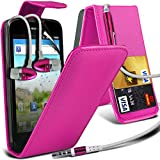 ( Hot Pink ) Huawei Ascend G300 Premium Faux Credit / Debit Card Slot Leather Flip Skin Case Cover & LCD Screen Protector Guard & Aluminium In Ear Earbud Stereo Hands Free Earphone with Built in Mic & On-Off Button by Fone-Case