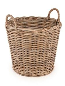 Beautiful Grey Rattan Log Basket with Handles - 53cm Tall. Code 21650