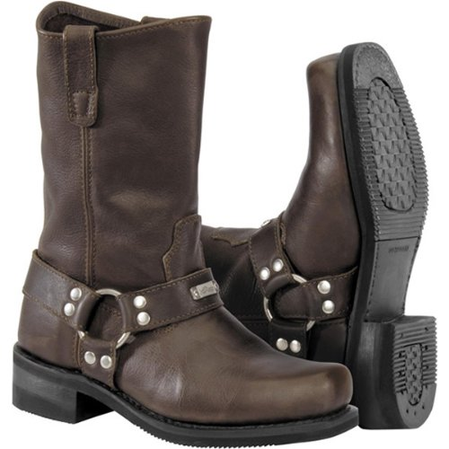 River Road Traditional Square Toe Harness Men's Leather Harley Cruiser Motorcycle Boots - Brown / Size 8