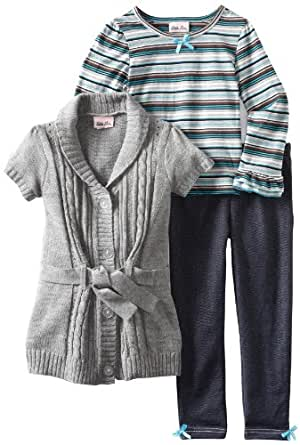 Little Lass Little Girls' 3 Piece Striped Sweater Set, Gray, 4