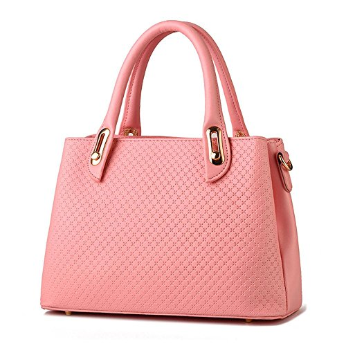 koson-man-womens-pu-leather-sling-vintage-zipper-tote-bags-top-handle-handbagwaterpink