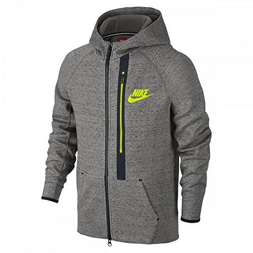 Nike Boy's 'Tech Fleece' Full Zip Hoodie (Large, Dark Grey Heather/Black/Volt)