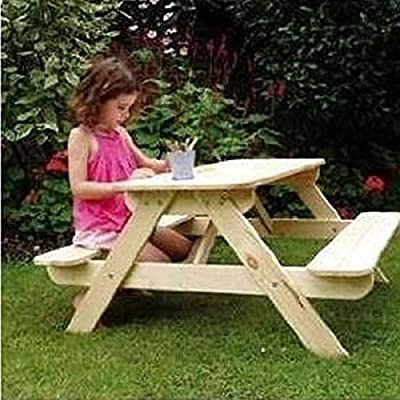 Trueshopping Children's Kids 'PANDA' Wooden Picnic Table & Bench Set in Natural Finish - Suitable For up to 80 kg - Perfect For Indoor or Outdoor Use