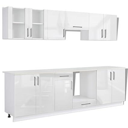 vidaXL Set de 8 meubles cuisine blanc brillant 260 cm