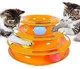 猫 ペット 用 楽しい おもちゃ ボール ディスク アクティブ キャット 猫じゃらし セット (A オレンジ)