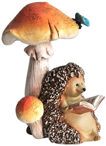 Top Collection Miniature Fairy Garden and Terrarium Hedgehog Reading Book Under Mushroom Statue (Outdoor Miniatures compare prices)
