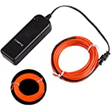 Onite® 16.4ft Red Neon Glowing Strobing Electroluminescent EL Wire Light with Battery Pack Controller for Parties, Halloween, Automotive, Advertisement Decoration