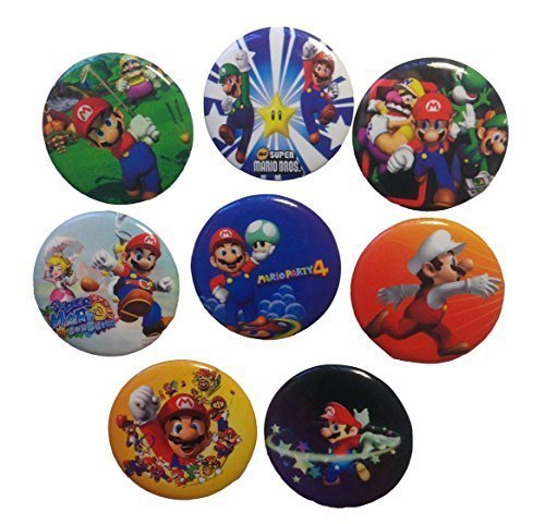 Super Mario Buttons Badges 8 Pcs Set #1