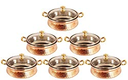 IndianArtVilla 4.3 X 6.8 X 2.5 Handmade High Quality Stainless Steel Copper Casserole Dish Serving Indian Food Daal Curry Set of 6 Handi Bowl With Glass Tumbler Lid Capacity 700 ML for use RestaurantGift Item