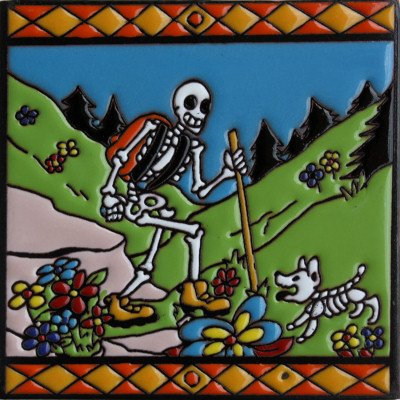 6x6-hiking-time-day-of-the-dead-clay-tile