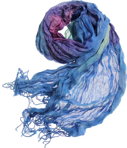 LL Women's Watercolor Pattern Fashion Scarf (Deep Blue) (Hippie Dress Up)