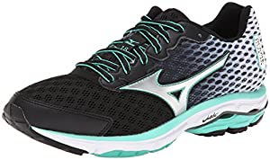 Mizuno Women's Wave Rider 18 Running Shoe, Black/Silver, 9 B US