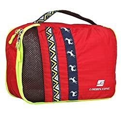 Generic Portable Nylon Travel Luggage Organizer Zippers Packing Storage Bag L Red