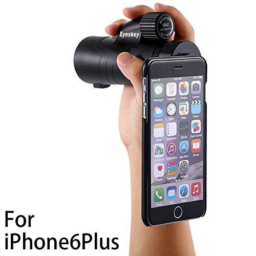 Eyeskey 単眼鏡 望遠鏡 10倍 42口径 10x42 ブラック 専用ケース ハンドストラップ付き iPhone に使用できる(iPhone 6Plus / 6s Plus)