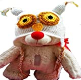 LadyMYP Handmade Knitted cap Baby cap Childrens Hat Hats 100 Wool Hat Eagle owl white